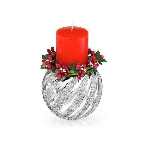 Świecznik z czerwoną świeczką - (BC#5571_18) - produkt z kategorii- Pozostałe