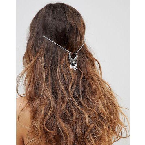 Asos design curved shape and metal tassel multirow hair chain - silver
