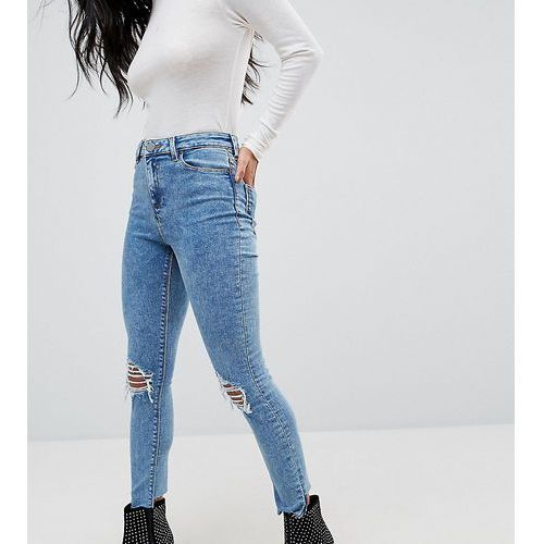 ridley high waist skinny jeans in sinclair 80s acid wash with busts - blue, Asos petite