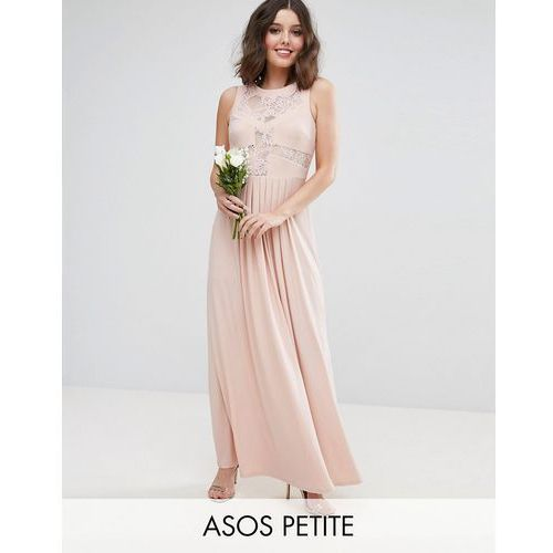 ASOS PETITE WEDDING Lace Top Pleated Maxi Dress - Pink, kolor różowy