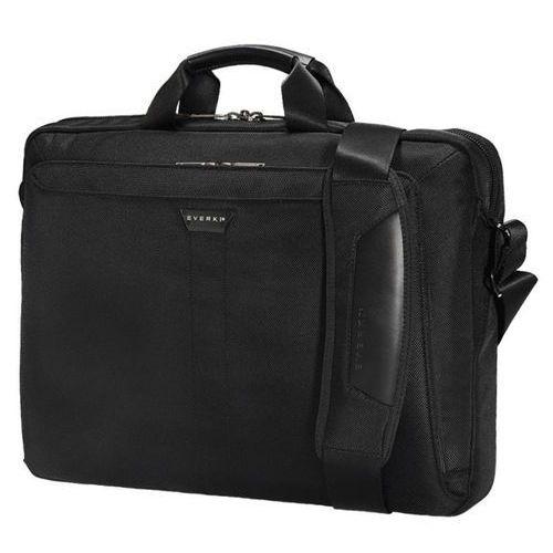 Everki lunar torba na laptop business briefcase z nylonu odprowadzającego wodę i uchwytami ze skóry, czarna, czarny