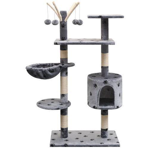 Vidaxl drapak dla kota, 125 cm, szary z wzorem w kocie łapki
