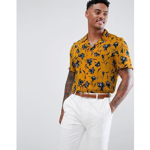 River Island Regular Fit Shirt With Floral Print In Mustard - Yellow, 1 rozmiar