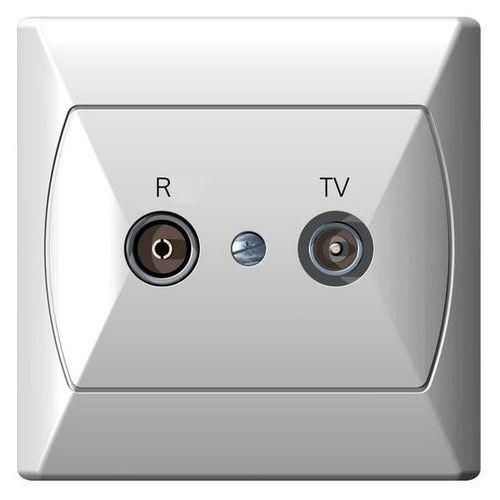 Gniazdo antenowe RTV przelotowe 14dB Biały - GPA-14AP/00 Akcent, GPA-14AP/00
