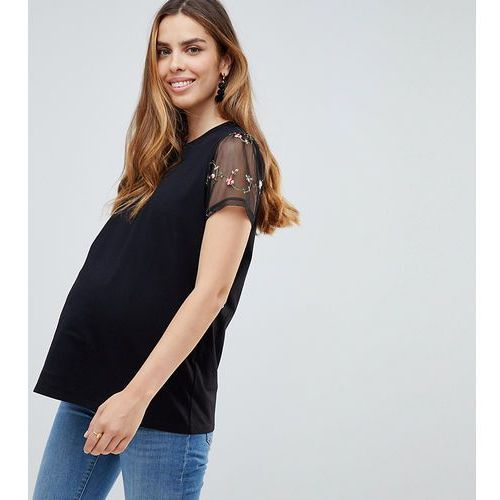 Asos maternity Asos design maternity floral embroidered mesh short sleeve tshirt - black