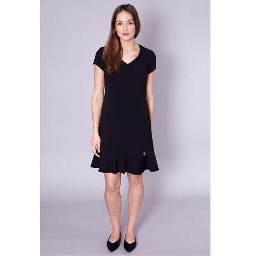 Jedwabna sukienka z falbaną w kolorze czarnym - Click Fashion, 1 rozmiar