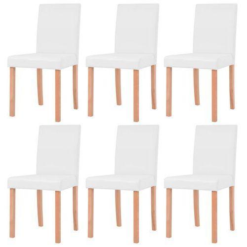 vidaXL Krzesła, 6 szt., sztuczna skóra, drewno bukowe, kremowe (8718475587682)