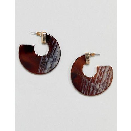 Glamorous pearlised crystal hoop earrings (+) - brown