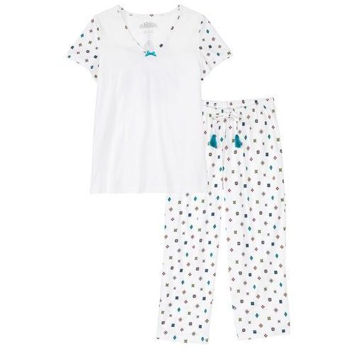Piżama ze spodniami 3/4 biel wełny wzorzysty marki Bonprix