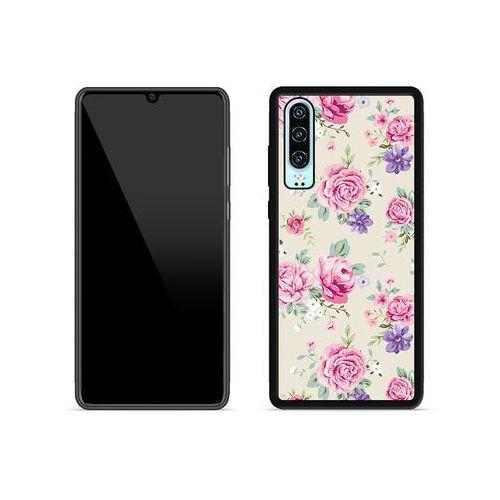 Huawei P30 - etui na telefon Aluminum Fantastic - pastelowe różyczki, kolor różowy