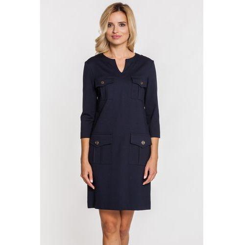Sukienka z naszytymi kieszonkami -  marki Bialcon
