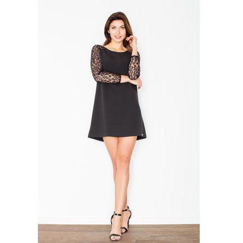 Czarna trapezowa sukienka z koronkowym długim rękawem marki Figl