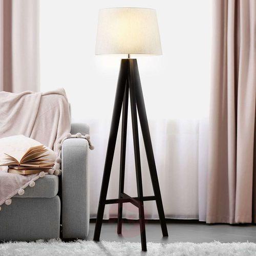 Lampa stojąca MAURA z drewnianą podstawą (5053423027180)