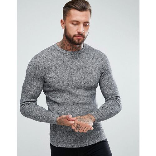 New Look Ribbed Muscle Fit Jumper In Black Marl - Black