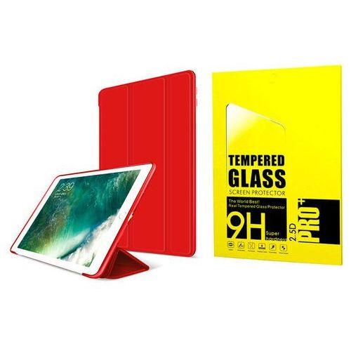 Etui Alogy Smart Case iPad 9.7 2017 / 2018 silikon Czerwone + Szkło - Czerwony
