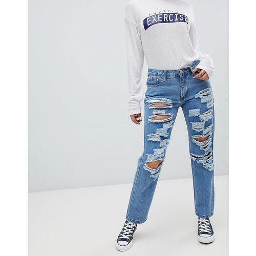 ripped boyfriend jeans - blue marki Glamorous
