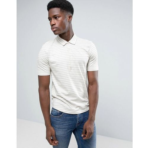 Selected homme polo shirt with stripe and long placket detail and curved hem - cream