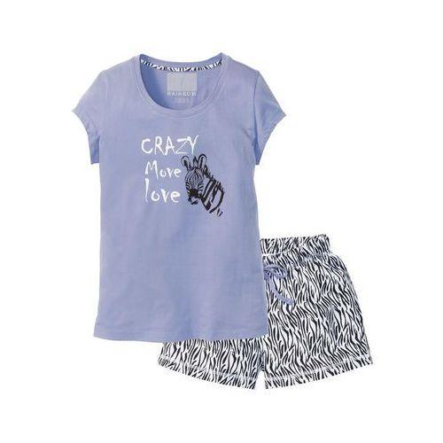 Piżama z krótkimi spodenkami lawenda - czarno-biały z nadrukiem marki Bonprix