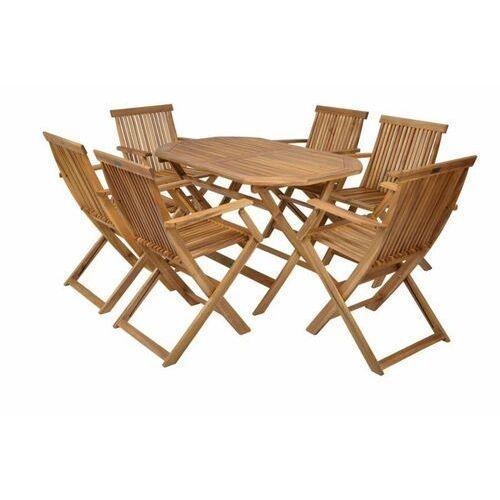 Hecht meble ogrodowe basic set 4 stół + 4 krzesła drewno