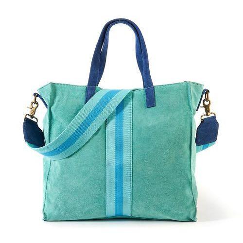 Skórzana torba shopper, kolor niebieski