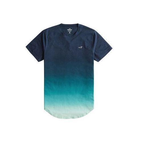 koszulka 'bts19-curved hem ombre fx c 2cc' turkusowy / ciemny niebieski, Hollister, XS-XXL