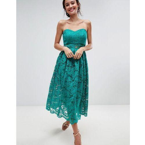 ASOS Bandeau Lace Midi Prom Dress - Green, kolor zielony