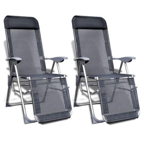 vidaXL Składane regulowane krzesła kempingowe z podnóżkami, 2 szt.