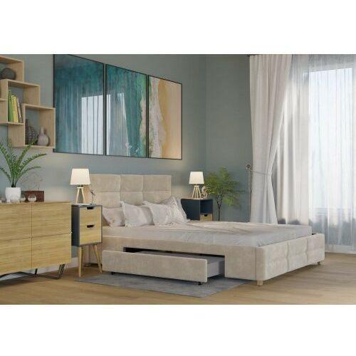 Łóżko 140x200 tapicerowane bergamo + 2 szuflady + materac welur beżowe marki Big meble