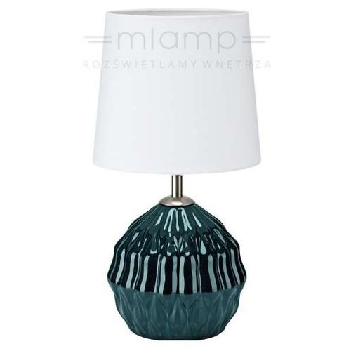 Biurkowa lampka stojąca lora 106882  abażurowa lampa stołowa biała zielona marki Markslojd
