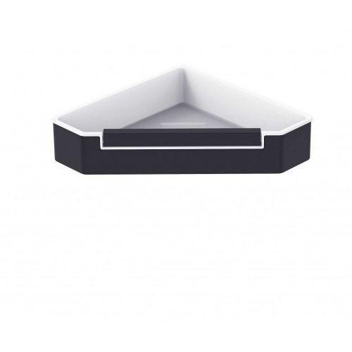 Stella koszyk narożny z wycieraczką, wkład z tworzywa biały 16.070-b czarny mat marki Akcesoria łazienkowe stella