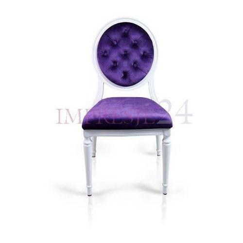 Krzesło royal, wymienne obicie, fioletowy welur, rama aluminiowa, biała. marki Design by impresje24
