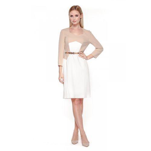 Biało-beżowa sukienka z paskiem - Potis & Verso