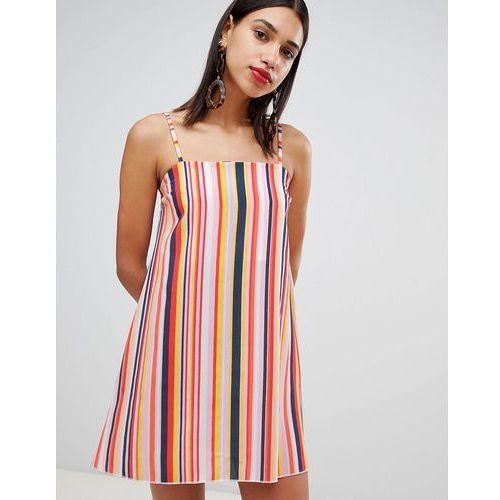 square neck strappy striped cami dress - multi marki Boohoo