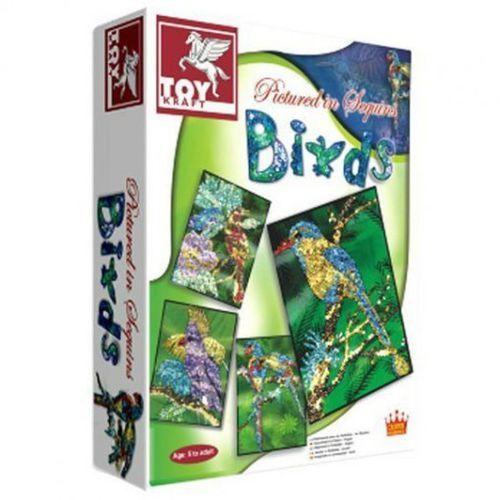 Toy kraft Ptaki zdobione cekinami (8906022394665)