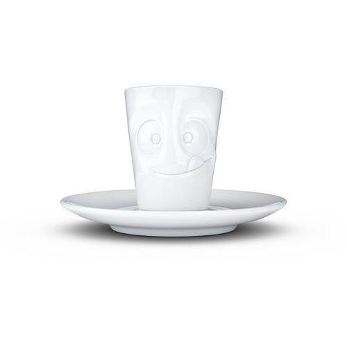 """58products - kubek do espresso - """"smaczna buźka"""" - biały błyszczący (4250255859229)"""