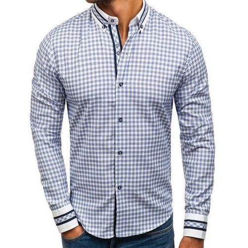 Koszula męska w kratę z długim rękawem niebieska 8808 marki Bolf