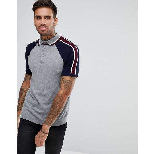 River Island Slim Fit Polo Shirt With Colour Block Sleeves In Grey - Grey, kolor szary