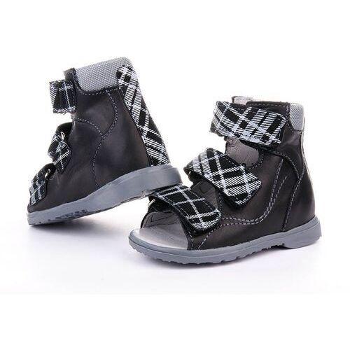 Sandały profilaktyczne - model 950/951 kolor czarny/kratka marki Dawid