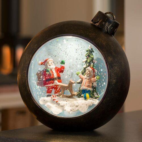 Bombka LED Mikołaj z dziećmi, z wodą (7318304362001)