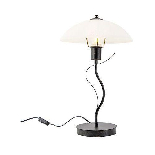 Honsel Klasyczna lampa stołowa brązowa z opalowym szkłem - unik