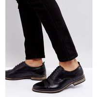 wide fit brogue shoes in black leather with natural sole - black, Asos