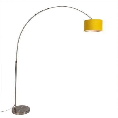 Lampa podłogowa łuk stal klosz cylindryczny żółty 35/35/20 - XXL