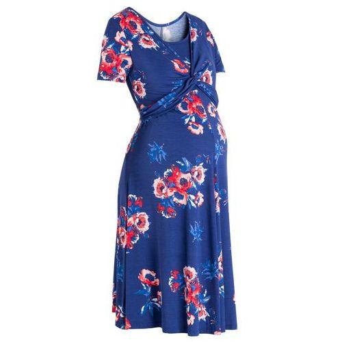 Sukienka shirtowa ciążowa i do karmienia bonprix kobaltowy z nadrukiem