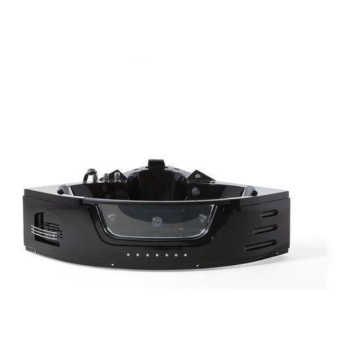 Wanna czarna narożna z oświetleniem LED i hydromasażem MARTINICA (4260580926350)