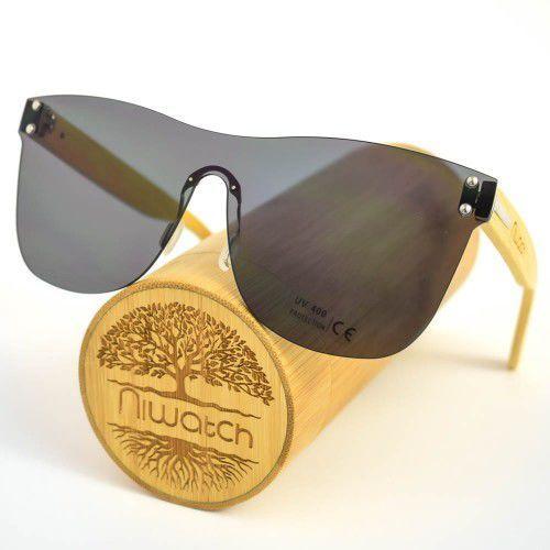 Drewniane okulary przeciwsłoneczne Niwatch Pavo Black, kolor żółty