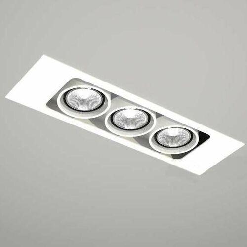 Spot LAMPA sufitowa EBINO 7317 Shilo metalowa LISTWA podtynkowa OCZKO prostokątna wpust biały, kolor Biały