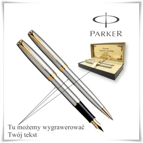 OKAZJA - Zestaw długopis i pióro Parker Sonnet GT w etui z możliwością graweru życzeń, towar z kategorii: Na imieniny dla męża