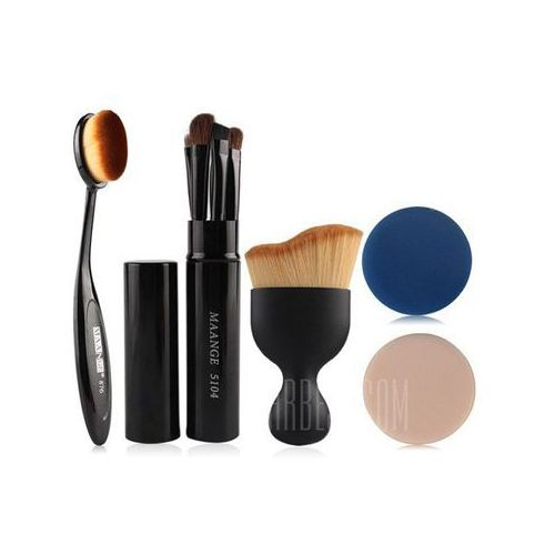 5 Pcs Eye Makeup Brushes Kit + Foundation Brush + Curved Blush Brush + Air Puffs