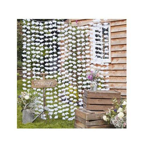 Ginger ray Kurtyna - zasłona na drzwi kwiatowa biała - 180 x 200 cm