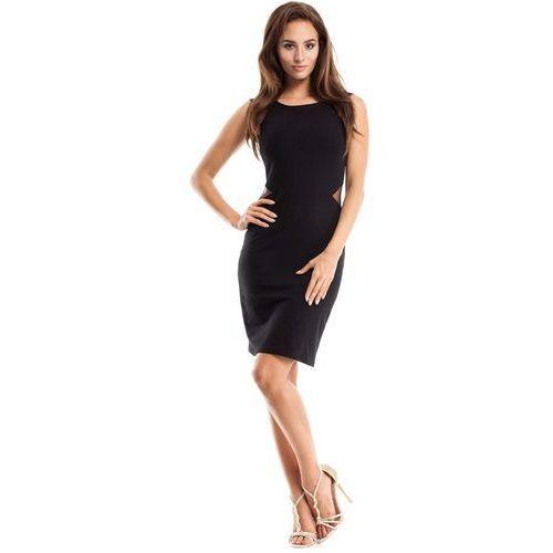Czarna Sukienka Ołówkowa bez Rękawów z Tiulem, E258bl